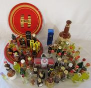 Selection of alcoholic miniatures & 2 Hewitts trays