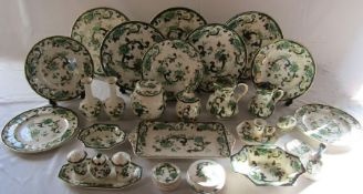Quantity of Masons ironstone green Charteuse ceramics