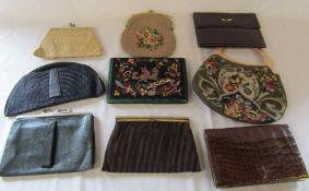 Selection of vintage handbags inc crocodile handbag with 9ct gold corner mounts