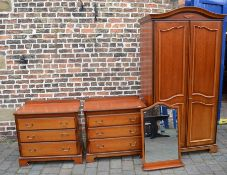 John E Coyle Ltd wardrobe, 2 chest of drawers and a mirror