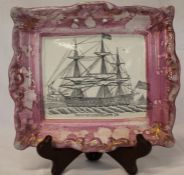 "Sunderland lustre rectangular plaque depicting ship ""Northumberland 74"", impressed Dixon Co, dia."