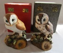 2 boxed Royal Crown Derby owls - brown owl signed D Payne H 14.5 cm and barn owl signed H Weson H