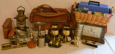 Various including pewter, pen tray & blotter, hip flask, opera glasses, lamp etc