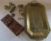 Brass tray L 61 cm (excluding handles), wooden sliding book shelf, brass bell etc