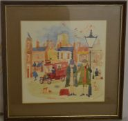 Colin Carr watercolour Bull Ring Grimsby. Frame 31cm by 31cm