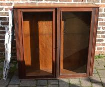 Mixed wood display cabinet with 4 glass shelves