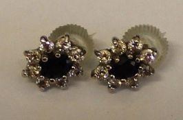 Pr of 9ct gold sapphire & cubic zirconia stud earrings