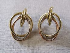 Pair of 9ct gold tricolour earrings weight 2.5 g L 27 mm