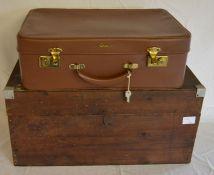Wooden tea box 'steam ahead tea' Ht 27cm L 56cm & an Antler suitcase