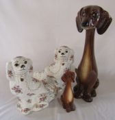Pair of Staffordshire style spaniels H 30 cm & 2 Jema Holland long necked Dachshund figures number