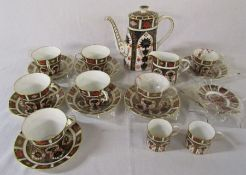 Royal Crown Derby imari pattern 1128 coffee pot, milk jug, 5 large cups, 1 fluted cup, 1 tea cup,