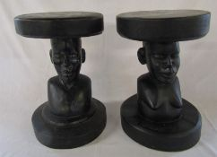 Pair of tribal stools H 40.5 cm