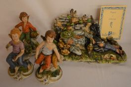 4 pieces of Capodimonte including Tramp With Doves