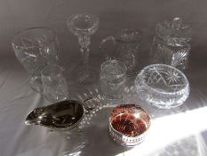 Selection of cut glass and silver plate