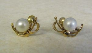 Pair of 14ct gold pearl earrings, total weight 4.2 g
