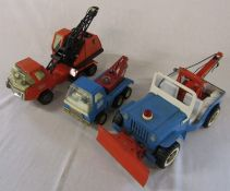 3 vintage Tonka toys inc 2435 Jeep wrecker with plow (all playworn one af)