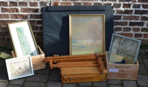 Sporting print, gilded landscape, artist's easels, folio holder, vintage port & wine cases etc