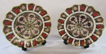 Pair of Royal Crown Derby imari fluted plates no 1128 D 21.5 cm (first quality)
