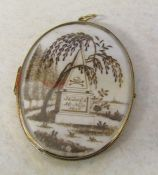 Tested as 15ct gold large locket mourning pendant, dated to front 10 Nov 1846 (front picture made