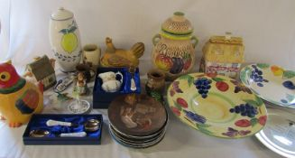 2 boxes of assorted ceramics inc collectors plates, Spode, Rumtopf jar, Aynsley and Hummel