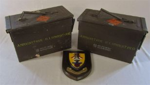 2 metal ammunition cases and a 9th/12th Royal Lancers (Pow's) plaque