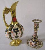Royal Crown Derby imari pattern 1128 candlestick H 15.5 cm and decorative jug / ewer H 25 cm