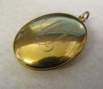 Large 9ct gold monogrammed locket weight 23.5 g Birmingham 1916 (height including clasp 6 cm)