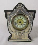 Silver fronted Edwardian mantle clock Birmingham 1909 H 14 cm