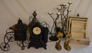 Metal lanterns, clock, miniature tricycle, 3 graduated trunks etc