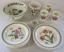 Selection of Portmeirion inc large bowl, plant pot, mugs and dinner plates