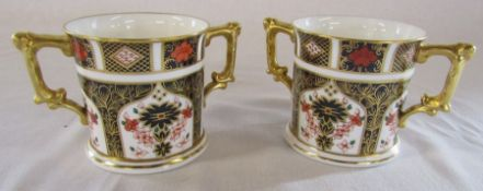2 Royal Crown Derby imari loving cups H 7.5 cm no 1128 (first quality)