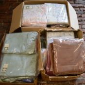 3 boxes of curtains, bed sheets & other linen
