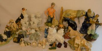 Various animal & oriental figures etc some damaged (2 boxes)