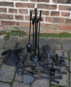 Hearth tidy, cobbler's last, 2 mole traps, fire irons etc