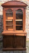 Early Victorian mahogany glazed bookcase cabinet with domed pediment & pilaster mouldings , height