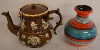 Large bargeware teapot with replacement lid & repair to spout & a West German lava vase