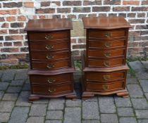 Pair of miniature reproduction serpentine fronted chest on chests H 77 cm