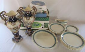 Selection of Wedgwood Christmas collectors plates, Crown Ducal plates and gravy boat and pair of