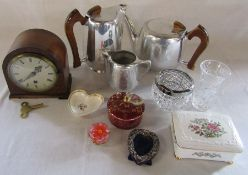 Various items inc Piquot tea set, small mantel clock, small silver photo frame, ceramics inc Paragon