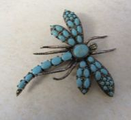 Silver and turquoise dragonfly brooch H 7 cm