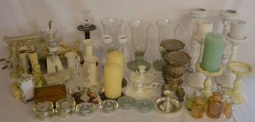Various candlesticks, lanterns, candles etc (2 boxes)