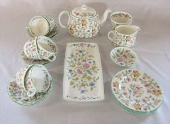 Minton Haddon Hall part tea service consisting of teapot, sugar bowl, milk jug, 6 cups and