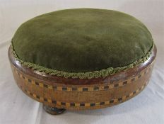Victorian parquetry circular footstool D 28 cm