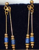 Pierres veritables pair of yellow metal & lapis earrings