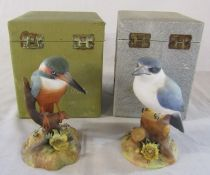 2 boxed Royal Crown Derby kingfisher birds - Australian kingfisher signed J Griffiths H 13.5 cm &