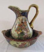 Modern hand painted Satsuma jug and bowl (jug H 25.5 cm bowl D 31 cm)