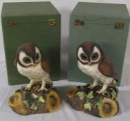 2 boxed large Royal Crown Derby brown owls H 25 cm