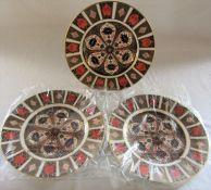 3 Royal Crown Derby imari plates no 1128 (2 still sealed) D 17 cm (first quality)