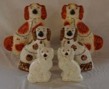3 pairs of Staffordshire dogs, tallest 31cm