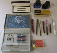 Assorted ink pens inc Conway Stewart, Sheaffer, Parker and Croxley, with Parker quink inks, box of